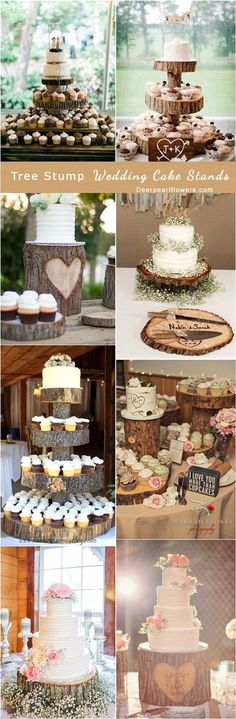 Rustic Tree Stump Wedding Cake Stand / http://www.deerpearlflowers.com/rustic-woodsy-wedding-trend-tree-stump/ #rustic #rusticwedding #countrywedding #weddingideas