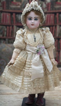 "26"" (67 cm) Antique Beautiful French Bisque Bebe Jumeau with Rare ""D"" Mark"