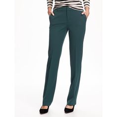 Old Navy Womens Mid Rise Straight Trouser ($40) ❤ liked on Polyvore featuring pants, glorious pine, white stretch pants, old navy, white stretchy pants, stretchy pants and stretch pants