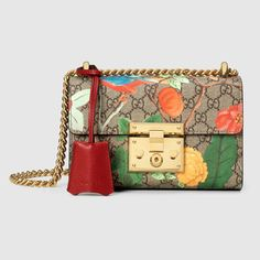 """Gucci Tian Padlock shoulder bag $1,650 Sliding chain strap can be worn as a shoulder strap with 20"""" drop or can be worn as a top handle with 11"""" drop 8""""W x 5""""H x 3""""D"""