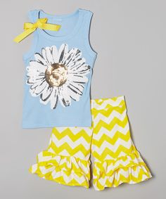 Look at this Blue Daisy Tank & Ruffle Shorts - Toddler & Girls on #zulily today!
