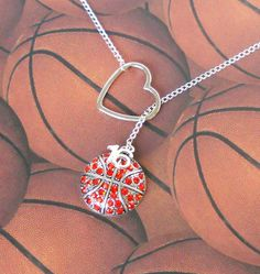 Basketball Lariat Necklace with Rhinestones by MelissaMarieRussell, $27.50