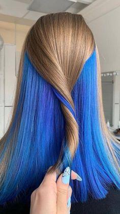Under Hair Dye, Under Hair Color, Hidden Hair Color, Hair Color Underneath, Half Dyed Hair, Dyed Hair Blue, Blonde And Blue Hair, Blue Ombre Hair, Dark Hair