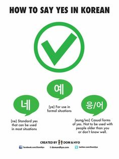 Korean Language Infographics – Page 3 – Learn Basic Korean Vocabulary & Phrases with Dom & Hyo Korean Slang, Korean Phrases, Korean Quotes, Learn Basic Korean, How To Speak Korean, Korean Words Learning, Korean Language Learning, Yes In Korean, Sign Language Phrases