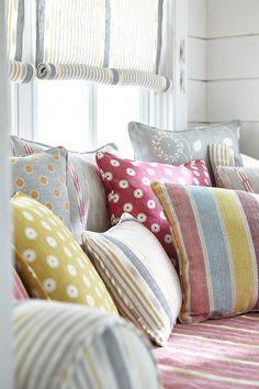 Luxurious made to order bespoke cushions. Luxury fabric cushions from fabric designer Vanessa Arbuthnott. Home Interior Design, Interior Styling, Vanessa Arbuthnott, Cute Cushions, Kitchen Blinds, Shabby, H & M Home, Cushion Fabric, Soft Furnishings