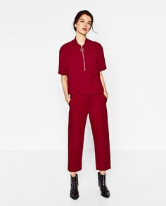 Image 1 of ZIPPED TOP WITH HIGH NECK from Zara