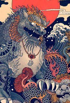RLoN Wang's Vivid Illustrations Depict Dynamic is part of Japanese artwork RLoN Wang's Vivid Illustrations Depict Dynamic Scenes of Nature and East Asian Mythology - Art And Illustration, Illustrations And Posters, Japanese Artwork, Japanese Painting, Fantasy Kunst, Fantasy Art, Art Chinois, Art Asiatique, Art Japonais