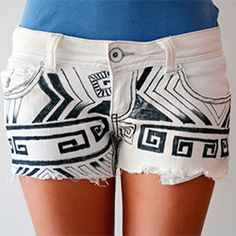 DIY old white jeans turned into B tribal shorts. Summer must have! #craftagawker