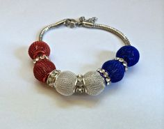 Red White and Blue Bracelet by EmpyreanByDamaris on Etsy, $35.00