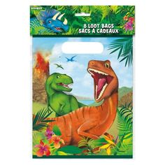 Treat your guests to prehistoric party favors inside our Dinosaur Party Bags. Make your bash a real ROAR with more dinosaur party supplies. Dinosaur Party Supplies, Dinosaur Party Favors, Dinosaur Crafts, Dinosaur Birthday Party, Party Favor Bags, Goodie Bags, Paper Plate Animals, Japanese Language, Spanish Language