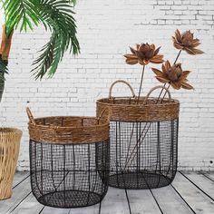2 Piece Iron Wire Round Scoop Basket with Handles