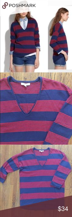 """Madewell Deckhouse sweater Gently worn, no condition issues. 3/4 sleeves. V neck. Length from shoulder is about 26"""". Armpit to armpit flat is 22"""". 90% cotton, 10% wool. Madewell Sweaters V-Necks"""