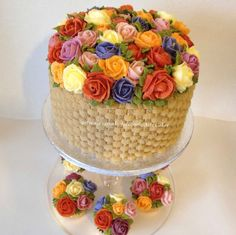 www.facebook.com/cakecoachonline - sharing......Basket cake with matching choc cupcakes all decorated with buttercream