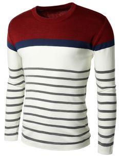 Doublju Mens Crew Neck Color Blocking Stripe Sweater Pullover (KMOSWL057) #doublju