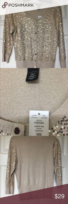 Beautiful never worn sweater. Never worn small sweater.  Beautiful sequin detail.  Can be dressed up or down.  Tags still on ready to be yours. White House Black Market Sweaters