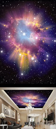 3D Infinity Galaxy Colorful Nebula Ceiling Wall Mural Wall paper Decal Wall Art Print Decor Kids wallpaper