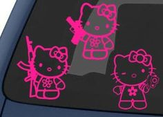 Hello Kitty Gun Sticker 3-Pack - Hot Pink (0122). For product info go to: https://www.caraccessoriesonlinemarket.com/hello-kitty-gun-sticker-3-pack-hot-pink-0122/