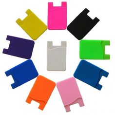 Card Holder, 4 Pc Cell Phone Wallet Works with iPhones, Androids and most Smartphones., Random Color