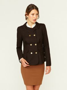 Pleated Wool Double-Breasted Jacket by Magaschoni on Gilt.com