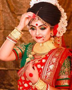 Beautiful Indian Brides, Bengali Bridal Makeup, Girly Drawings, Flower Crowns, Photo Studio, Wedding Bride, Pride, Wonder Woman, Superhero