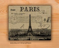 Mouse pad Paris France City burlap background by gift2give on Etsy, $11.00