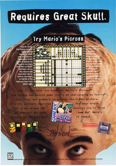 """Marios Picross advert! Im a gigantic brain!""""  Follow oldgamemags on Tumblrfor more awesome scans from yesteryear!"""