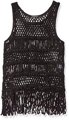 e4eecb4847b486 Big Girls  Crochet Mesh Sleeveless Tank Top with Fringe Hem. Fitoctcslt ·  Fashion Women Plus Size