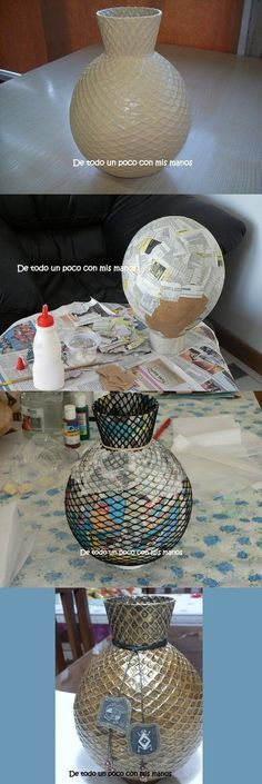 Tutorial pazzeschi per tutti coloro che vorrebbero cimentarsi nell'arte più elevata del riciclo. + Video tutorial Erase una vez un globo . que se transformó en jarrón!:Erase una vez un globo . que se transformó en jarrón! Diy Paper, Paper Crafts, Fun Crafts, Diy And Crafts, Papier Diy, Clever Diy, Diy Art, Diy Home Decor, Decoupage