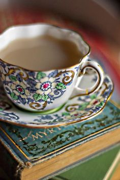 blue and green florals - tea and a good book are always a good idea