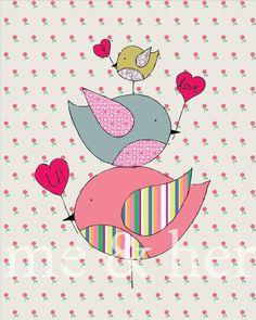 Birds I love U. Pen and ink illustration. Children's art. Nursery art print on Etsy, $12.00 AUD