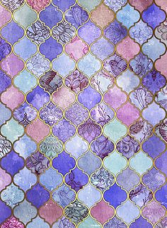 Royal Purple, Mauve & Indigo Decorative Moroccan Tile Pattern by micklyn