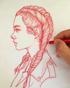 New illustrations, sketches and original art work by Rik Lee — Rik Lee Pencil Art Drawings, Art Drawings Sketches, Easy Drawings, Pretty Drawings, Pretty Girl Drawing, Easy People Drawings, Horse Drawings, Amazing Drawings, Realistic Drawings