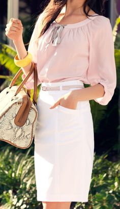 pretty. love the white pencil. But 86 the bracelet and bag