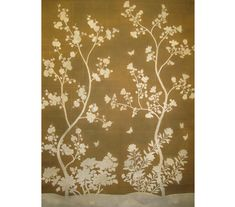 """SY-236Handpainted Chinese scenic panel featuring silhouette design painted on a pieced 18th century antiqued background.Two panels shownSIZE: Each Panel is 3' Wide x 10' High, Design height 7'6"""" PRICE PER PANEL: $1,125"""