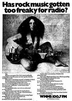 """Has rock music gotten too freaky for radio?"" WMMS 100.7 FM Cleveland OH 1970."