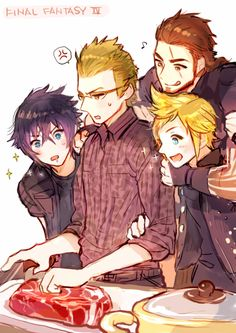 Lol Ignis does not look happy that he's being crowded by Gladio, Noct, and Prompt.