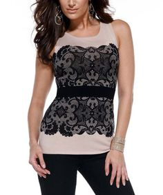 Look what I found on #zulily! Belldini Summer Sand & Black Lace Tank by Belldini #zulilyfinds