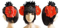 Root Chakra Red & Black Headdress by SamshineMystic on Etsy