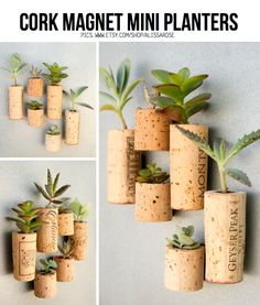 DIY Cork Inspiration. This DIY idea, Cork Magnet Mini Planters, is from Etsy vendor 'AlissaRose' and was featured and linked to in a DIY cork special on ScrapHacker.com