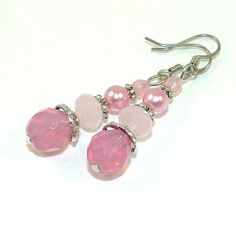 Princess Pink Czech Glass and Crystal by SylviaSwaseyDesigns, $14.00