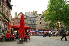 village square, cafés, Rennes, France