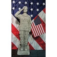 Henri Studio Camo Woman Garden Statue with Flag - 1811-RZ