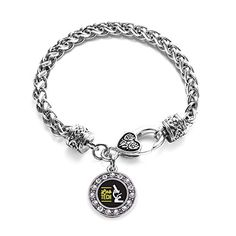 Inspired Silver Lab Technician Circle Charm Braided Bracelet Silver Plated with Crystal Rhinestones -- Read more reviews of the product by visiting the link on the image. Note:It is Affiliate Link to Amazon.