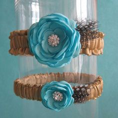 Tiffany Blue and Gold Satin Feather Wedding Garter by HARTfeltart, $40.00