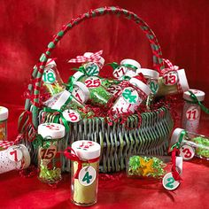 Open Sesame-It's OK to open these gifts before Christmas. Fill 25 small jars or vials with gifts or notes. Adhere a number sticker to metal-rim tags, and tie them to the containers with holiday ribbon. Nestle all the containers into a basket. Each day, have a family member find the right vessel for the day