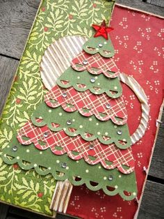 NOTE:  GREAT IDEA BUT SUSPICIOUS LINK Use paper punch to make borders than cut to make tree