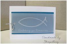 Heute zeige ich Euch eine Kommunionkarte in Flüsterweiß und Petrol. Ganz schlicht.   Der Fisch ist auf Transparentpapier in weiß gedruckt....