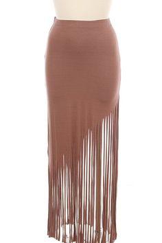 Brown Fringe Maxi Skirt #hippie #boho