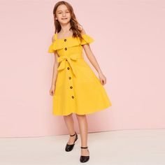 To find out about the Girls Cold Shoulder Ruffle Trim Belted Shirt Dress at SHEIN, part of our latest Girls Dresses ready to shop online today! Baby Girl Dress Patterns, Dresses Kids Girl, Cute Dresses, Kids Outfits, Cute Outfits, Dress Girl, Girls Fashion Clothes, Kids Fashion, Fashion Dresses