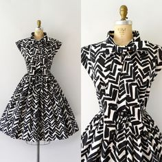 SOLD ••• 1950s Vintage dress, black and white cotton body w/ attached neck ties, capped sleeves, hidden metal zip front, fitted waist, very full skirt • size S/M (37/38-26/27-free) • Near excellent condition with a small hand-stitched repair under each arm, very hard to detect (see pic) $168 + shipping  #sweetbeefinds #1950sfashion #1950sdress #1950sstyle #vintageforsale #vintageshop #blackandwhite #fitandflare #retro #1950sstyle #1950svintage #1950sdresses